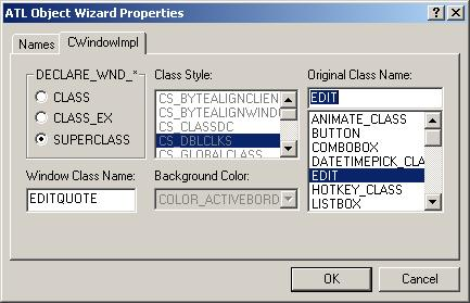 Figure 7. ATL Object Wizard Properties - Names.