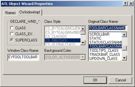 Figure 9. ATL Object Wizard Properties - Names.