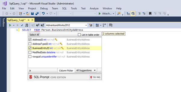 SQL Coding Productivity in Visual Studio Enterprise with SQL