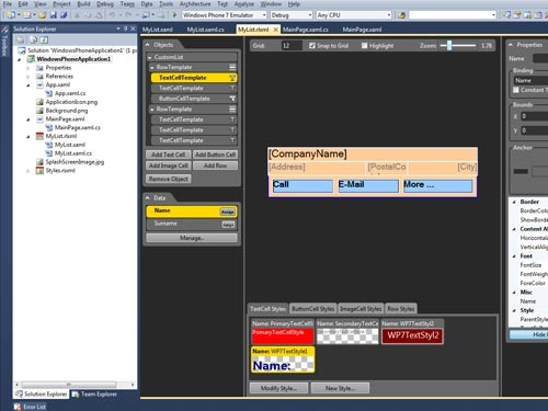 4.	Design the UI in advanced designer embedded in Visual Studio