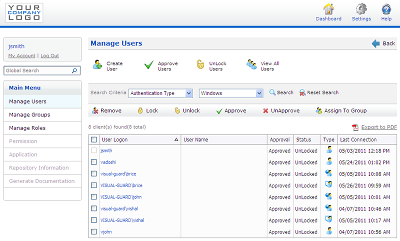 Visual Guard User Management