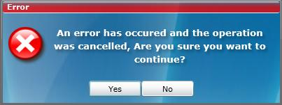 The Error message