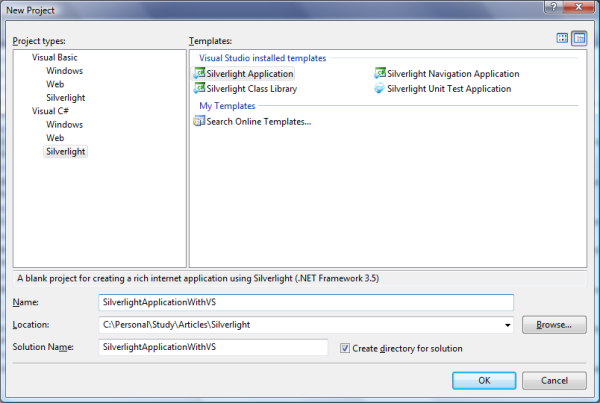 Step 2 This Is Optional You Can Select The Hosting Application Template While Creating Silverlight Itself Or If Already Have A