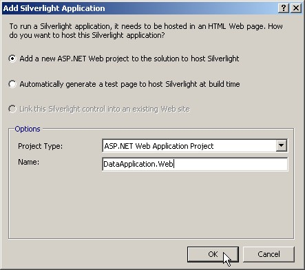 Selecting an ASP.NET Web application project to host our silverlight page