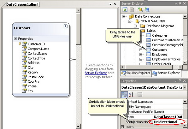LINQ Designer: Adding tables and enabling serialization