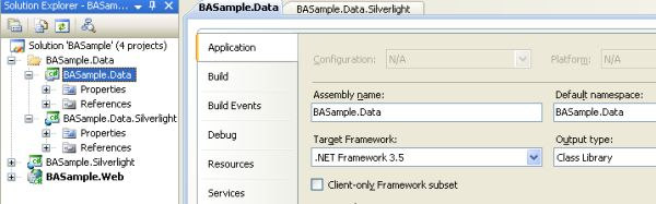 Properties of the middle tier of added .NET RIA Services Class Library