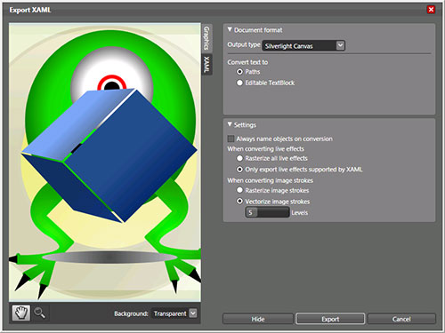 Exporting from Expression Design for Silverlight