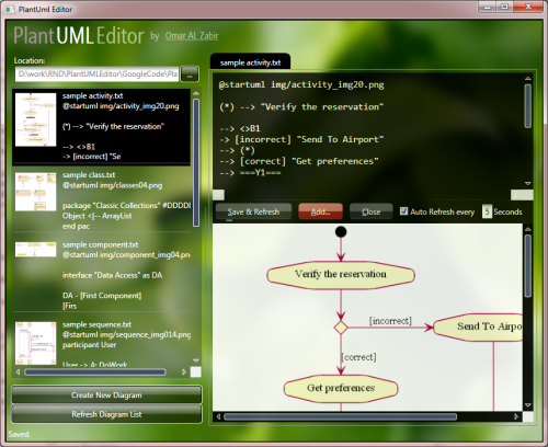 Screenshot of PlantUML Editor