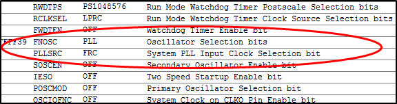 Configuration bits excerpt