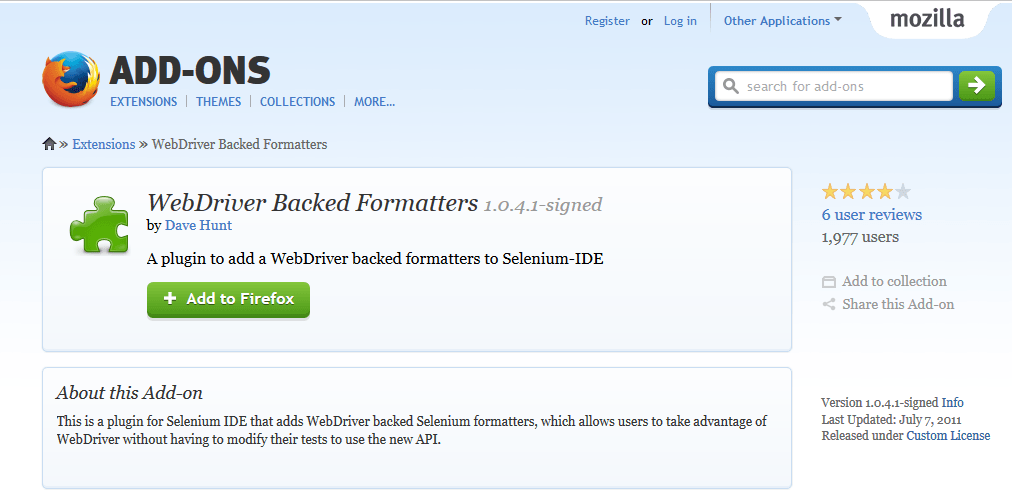 Selenium IDE Export Firefox Extension
