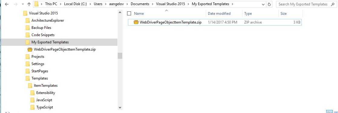 My Exported Templates