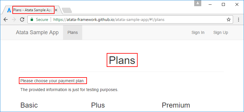 Plans page with highlighted primary data
