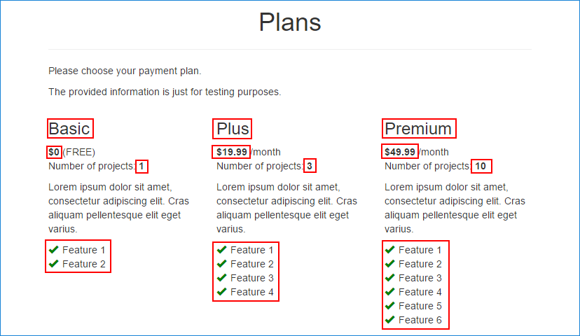 Plans page with highlighted complex data