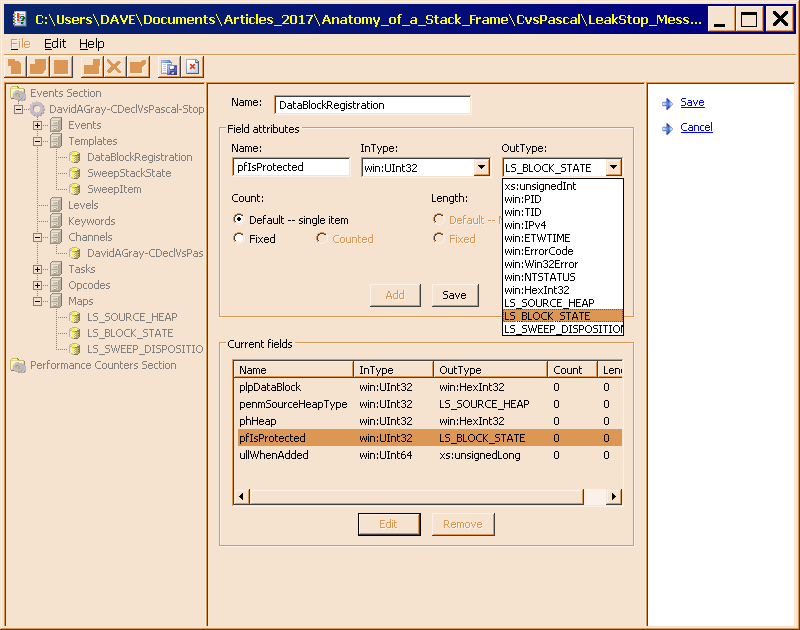 Figure 7 is the pfIsProtected parameter, displayed in edit mode, with the list box visible, and the correct map selected.