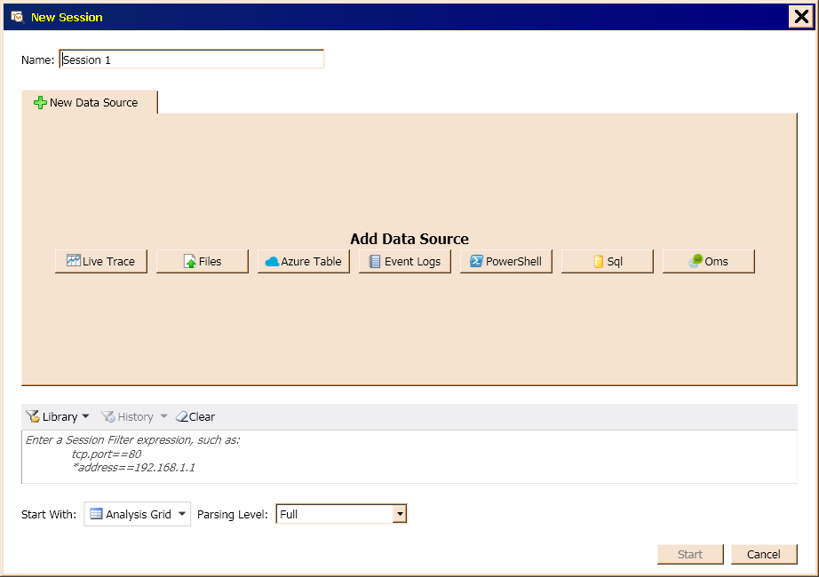 Figure 13 shows the window that appears when you select New Session from the initial screen shown in Figure 12.