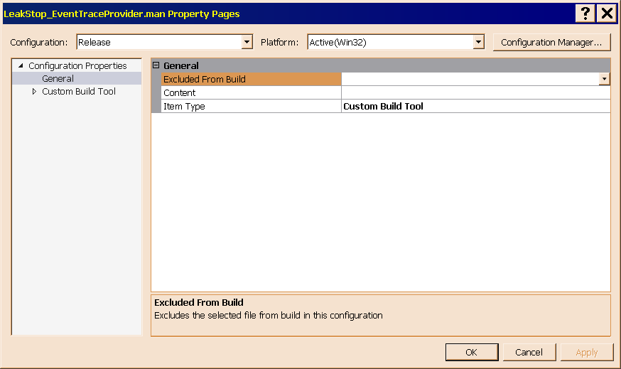 Figure 10 shows the main property sheet of LeakStop_EventTraceProvider.man.