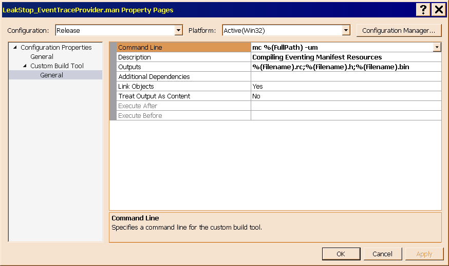 Figure 11 shows the Custom Build Tool configuration page of the LeakStop_EventTraceProvider.man property sheet.