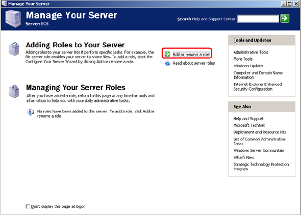 Manage Your Server window