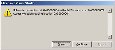 Visual Studio 8.0 exception while attempting to trace a rabbit thread