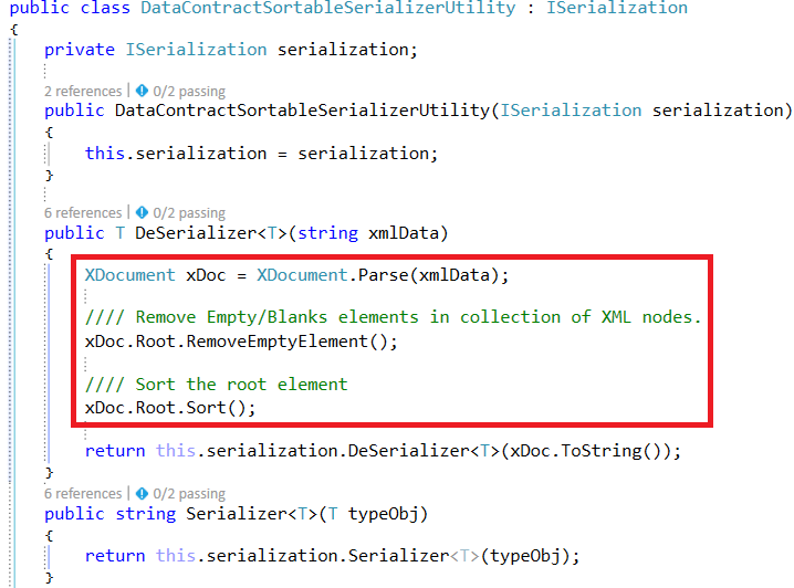 Implementation of XML Serialization and Data Contract