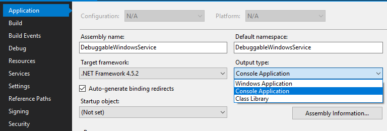 Debuggable Windows Service Template Project with C#