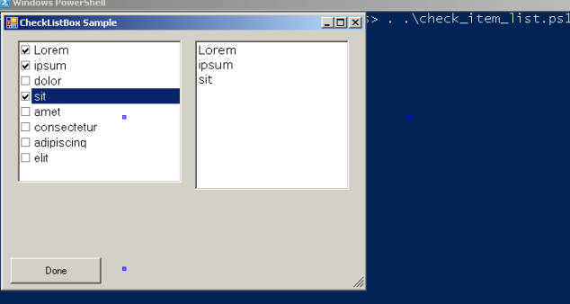 Dealing with Powershell Inputs via Basic Windows Form