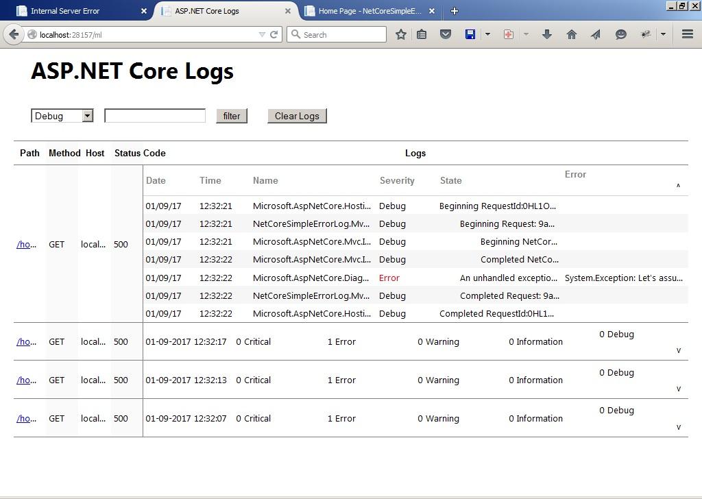the error list shown by MVC logger