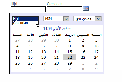ASP NET DatePicker User Control (Hijri / Gregorian) shows month and