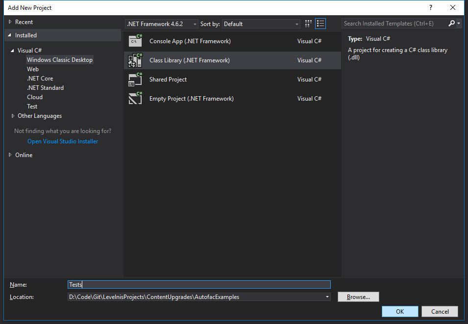 New Visual Studio class library project window