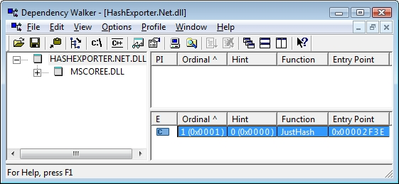 Depencency Walker shows a C-like unmanaged export of a VB.Net DLL