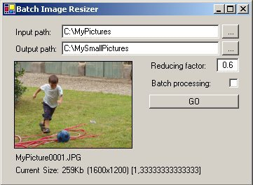 Image Batch Resizer user interface