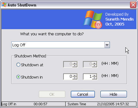 Windows Shutdown Timer With A One Minute Warning