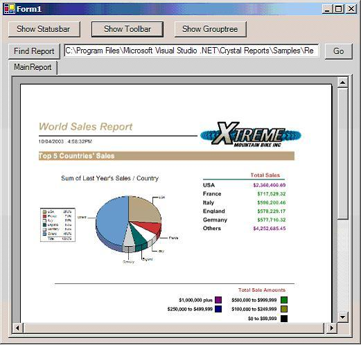 Crystal reports viewer.
