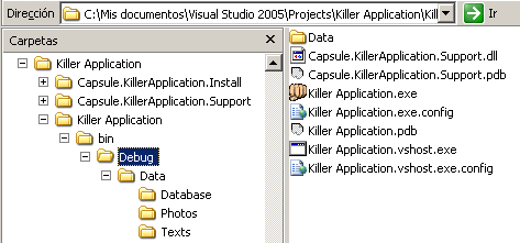 Killer Application folder generated by VS
