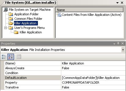 Killer Application folder in installer project
