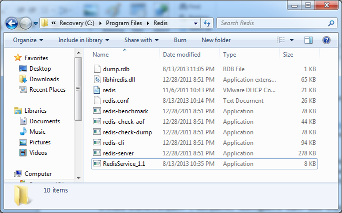 redis application folder conten