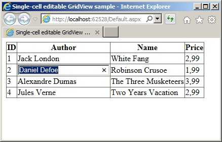 Single-cell editable GridView preview