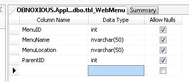 Menu Table Structure in Database