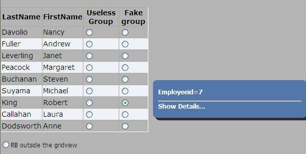 Grouped Radio Buttons in Gridview - CodeProject
