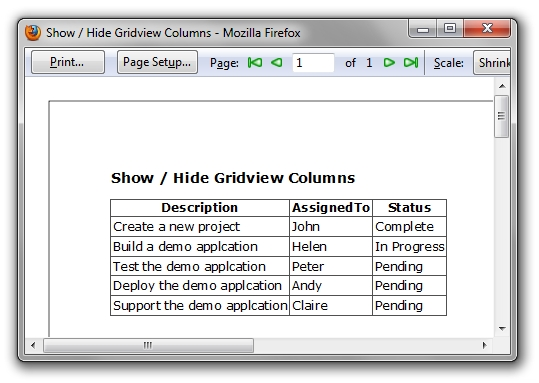 Screenshot - Show Hide GridView Columns
