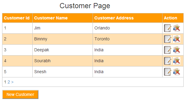 Output for Customer page