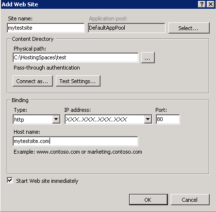 Host Site in IIS7