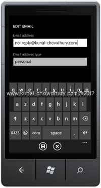 Screenshot 2 : How to Save Email Address in WP7 using the SaveEmailAddressTask?