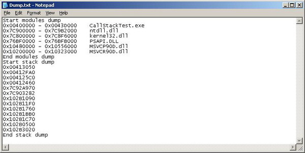 Dump.txt logged by CallStackTest.exe demo program