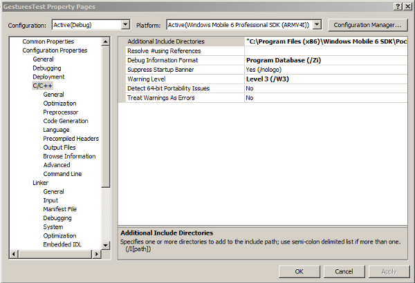Add the Include directory for the Windows Mobile 6 SDK