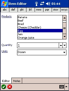 Item Editor Screen.