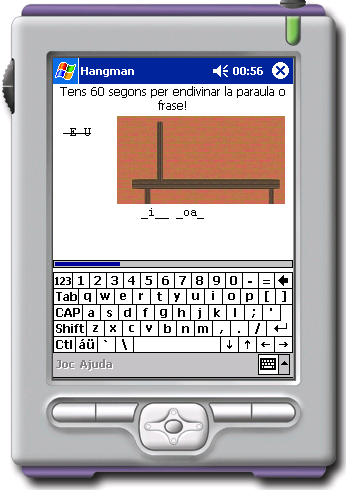 The hangman game on a Pocket PC configured for Catalan