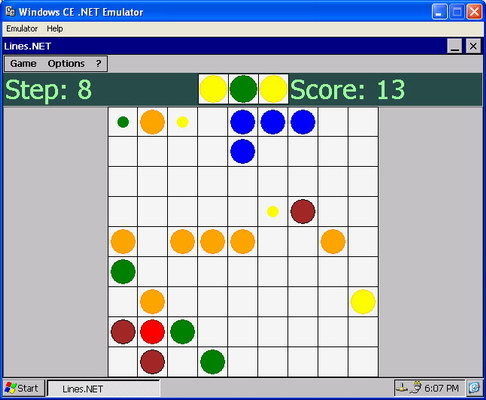 Appearance of Lines.NET game in Windows CE.NET emulator