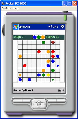 Appearance of Lines.NET game in Pocket PC 2002 emulator