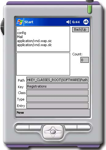 Original registry viewer on Pocket PC